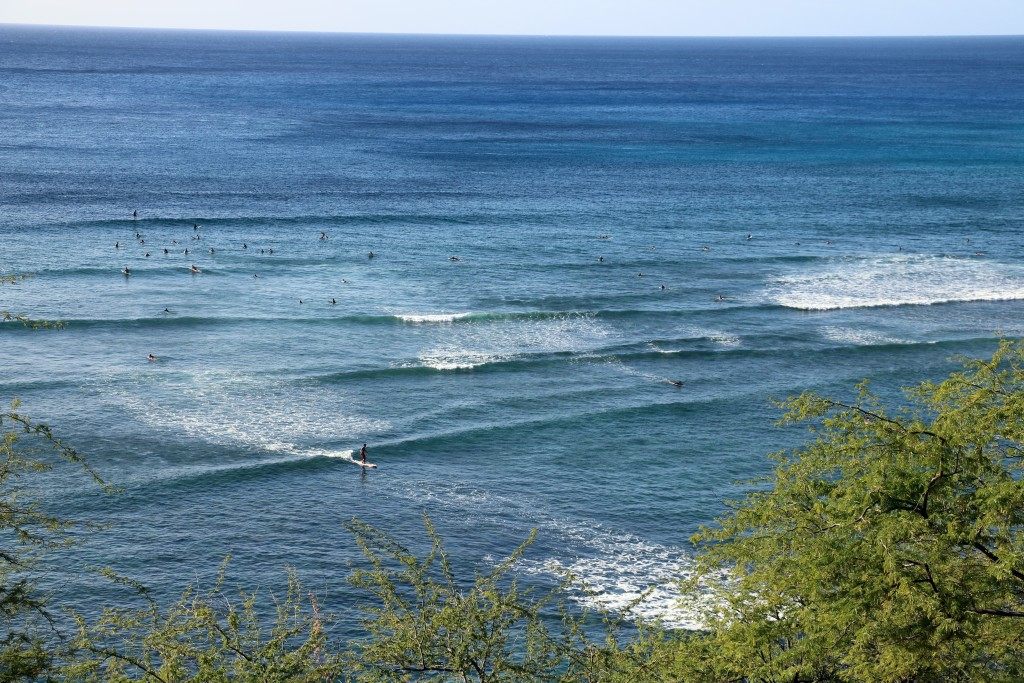 Surfers at Diamond Head